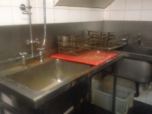 Sink used to prepare chicken